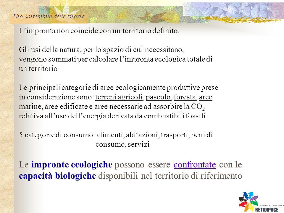 Uso sostenibile delle risorse Limpronta non coincide con un territorio definito.