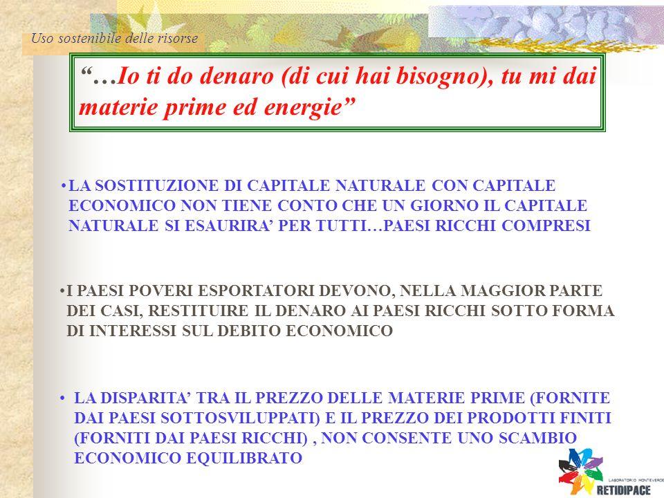 Uso sostenibile delle risorse …Io ti do denaro (di cui hai bisogno), tu mi dai materie prime ed energie LA SOSTITUZIONE DI CAPITALE NATURALE CON CAPITALE ECONOMICO NON TIENE CONTO CHE UN GIORNO IL CAPITALE NATURALE SI ESAURIRA PER TUTTI…PAESI RICCHI COMPRESI I PAESI POVERI ESPORTATORI DEVONO, NELLA MAGGIOR PARTE DEI CASI, RESTITUIRE IL DENARO AI PAESI RICCHI SOTTO FORMA DI INTERESSI SUL DEBITO ECONOMICO LA DISPARITA TRA IL PREZZO DELLE MATERIE PRIME (FORNITE DAI PAESI SOTTOSVILUPPATI) E IL PREZZO DEI PRODOTTI FINITI (FORNITI DAI PAESI RICCHI), NON CONSENTE UNO SCAMBIO ECONOMICO EQUILIBRATO