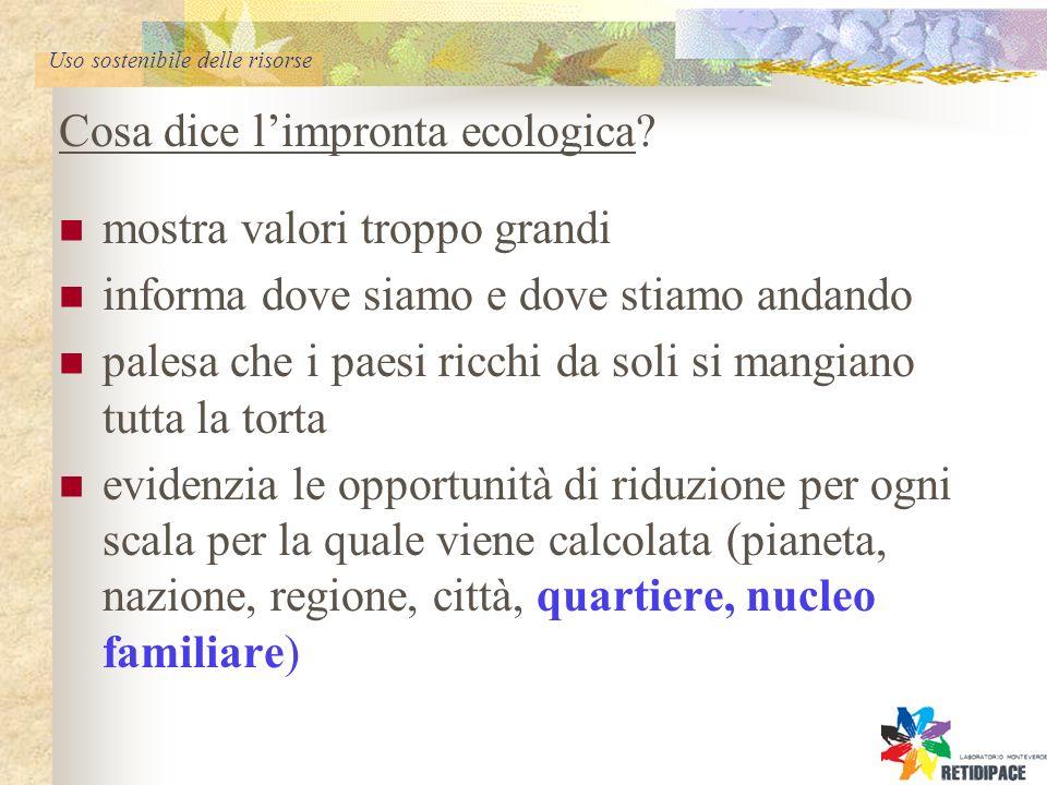 Uso sostenibile delle risorse Cosa dice limpronta ecologica.