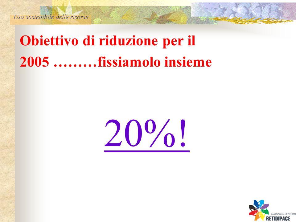 Uso sostenibile delle risorse Obiettivo di riduzione per il 2005 ………fissiamolo insieme 20%!