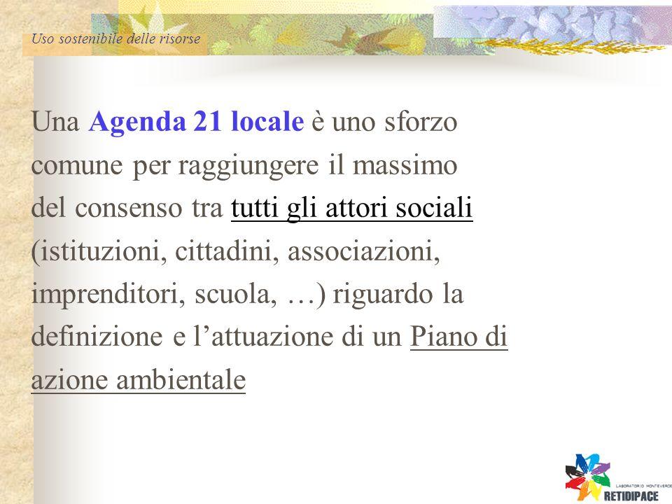 Uso sostenibile delle risorse Una Agenda 21 locale è uno sforzo comune per raggiungere il massimo del consenso tra tutti gli attori sociali (istituzioni, cittadini, associazioni, imprenditori, scuola, …) riguardo la definizione e lattuazione di un Piano di azione ambientale