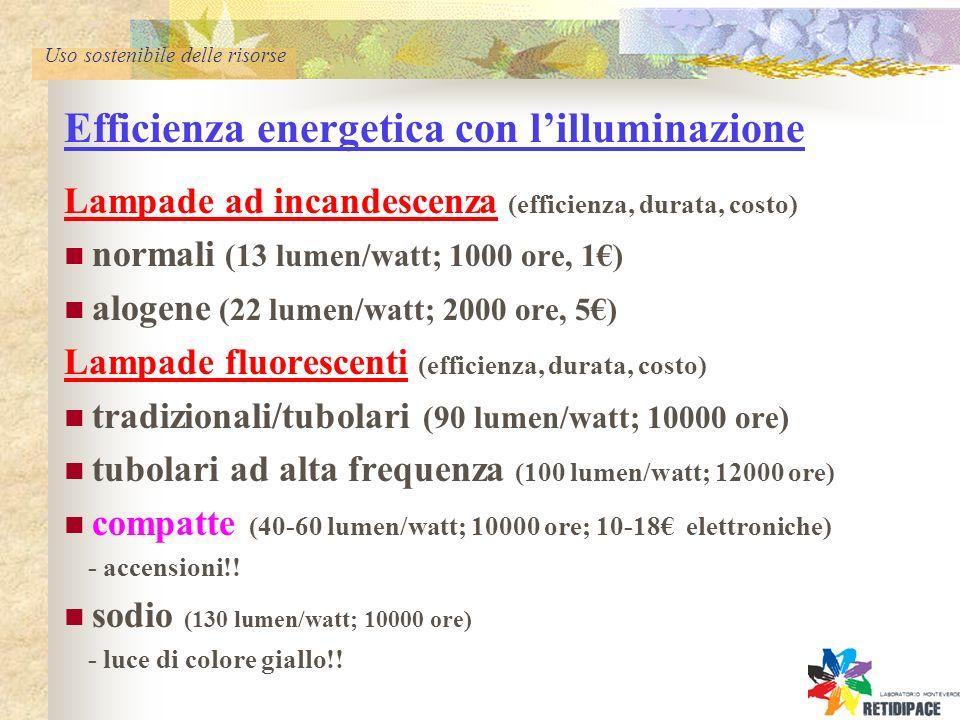 Uso sostenibile delle risorse Efficienza energetica con lilluminazione Lampade ad incandescenza (efficienza, durata, costo) normali (13 lumen/watt; 1000 ore, 1) alogene (22 lumen/watt; 2000 ore, 5) Lampade fluorescenti (efficienza, durata, costo) tradizionali/tubolari (90 lumen/watt; 10000 ore) tubolari ad alta frequenza (100 lumen/watt; 12000 ore) compatte (40-60 lumen/watt; 10000 ore; 10-18 elettroniche) - accensioni!.