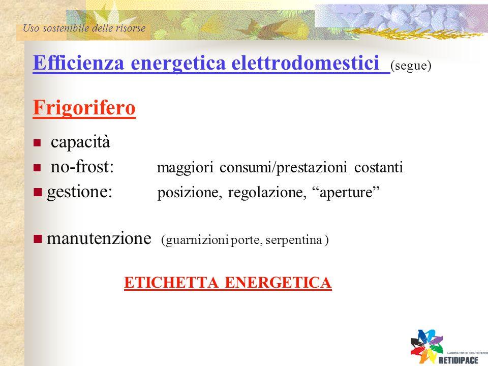 Uso sostenibile delle risorse Efficienza energetica elettrodomestici (segue) Frigorifero capacità no-frost: maggiori consumi/prestazioni costanti gestione: posizione, regolazione, aperture manutenzione (guarnizioni porte, serpentina ) ETICHETTA ENERGETICA