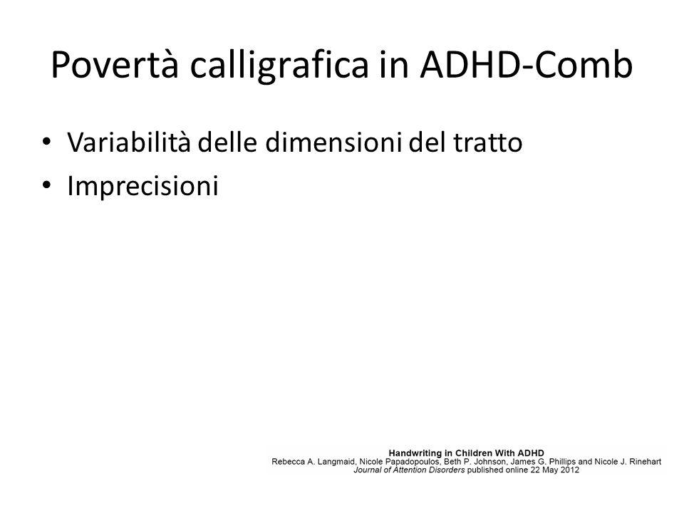 Povertà calligrafica in ADHD-Comb Variabilità delle dimensioni del tratto Imprecisioni