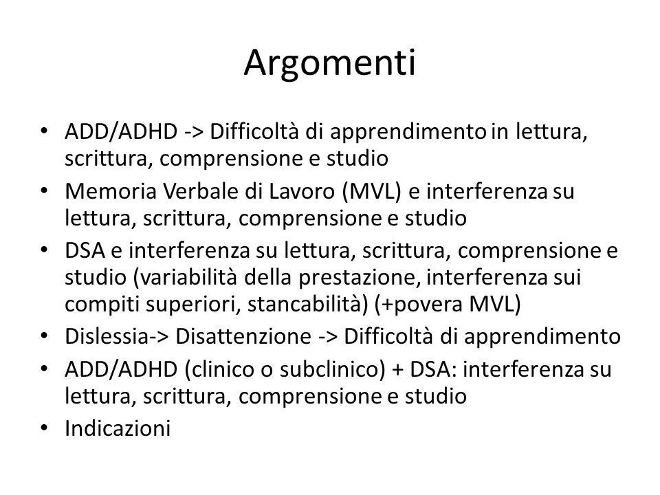 Argomenti ADD/ADHD -> Difficoltà di apprendimento in lettura, scrittura, comprensione e studio Memoria Verbale di Lavoro (MVL) e interferenza su lettu