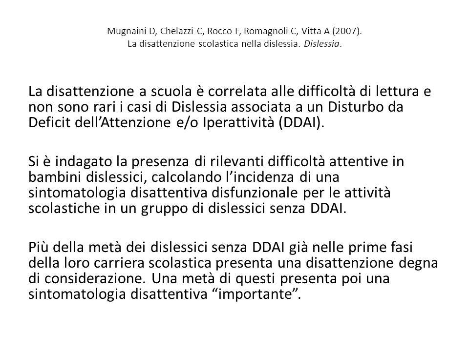 Mugnaini D, Chelazzi C, Rocco F, Romagnoli C, Vitta A (2007). La disattenzione scolastica nella dislessia. Dislessia. La disattenzione a scuola è corr