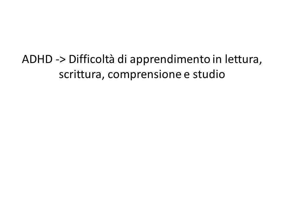 ADHD -> Difficoltà di apprendimento in lettura, scrittura, comprensione e studio
