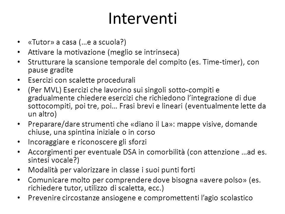 Interventi «Tutor» a casa (…e a scuola?) Attivare la motivazione (meglio se intrinseca) Strutturare la scansione temporale del compito (es. Time-timer