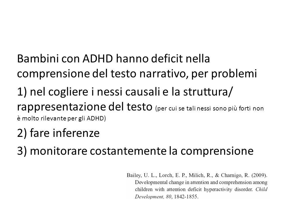 Bambini con ADHD hanno deficit nella comprensione del testo narrativo, per problemi 1) nel cogliere i nessi causali e la struttura/ rappresentazione d