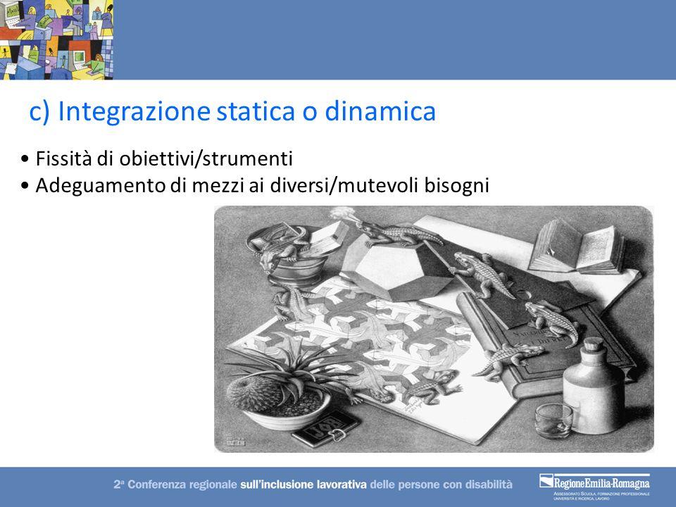 Fissità di obiettivi/strumenti Adeguamento di mezzi ai diversi/mutevoli bisogni c) Integrazione statica o dinamica