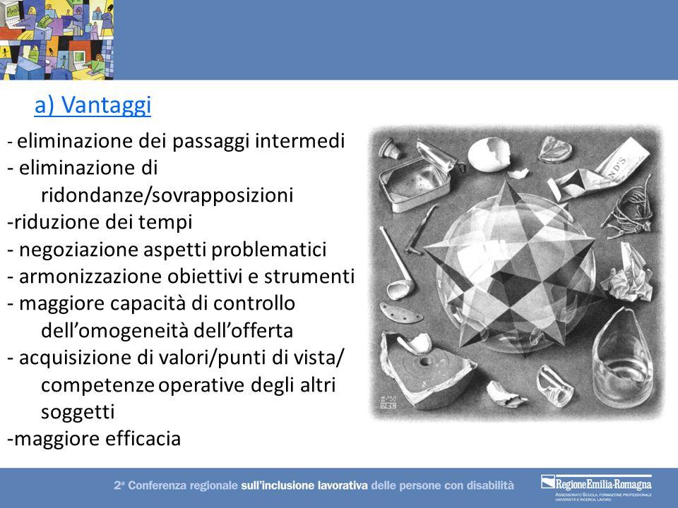 a) Vantaggi - eliminazione dei passaggi intermedi - eliminazione di ridondanze/sovrapposizioni -riduzione dei tempi - negoziazione aspetti problematic