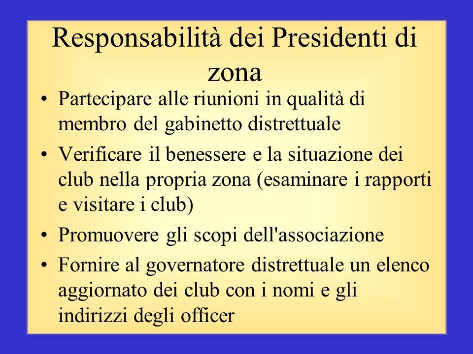 Le tre funzioni dei Presidenti di zona Motivare - riconoscere il successo dei club Consigliare - offrire preparazione assistita e linee guida Comunica