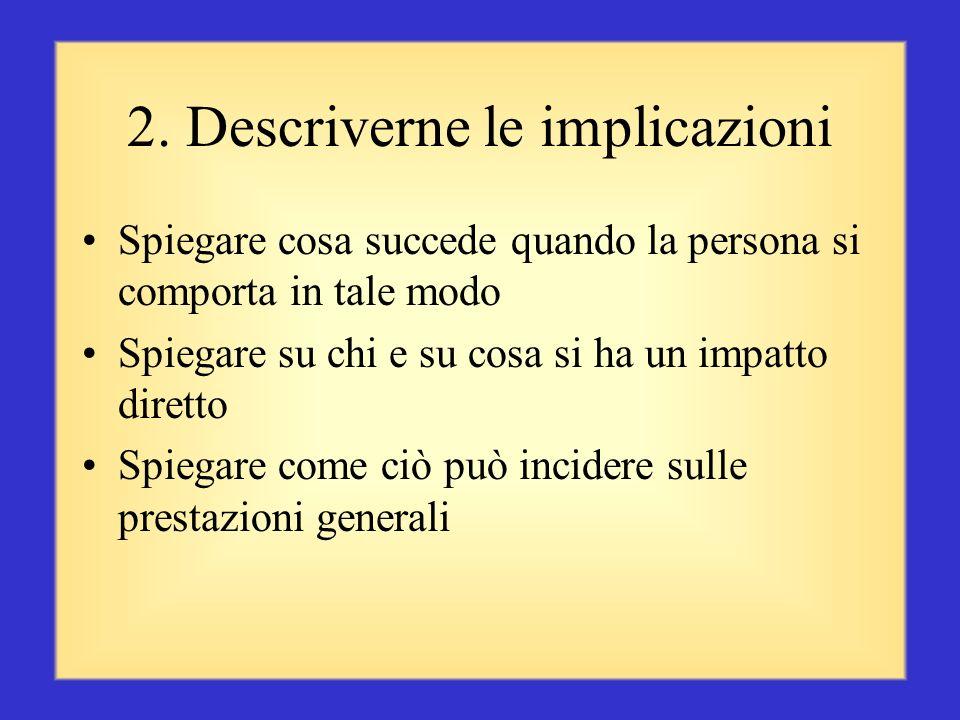 1. Individuare il comportamento Concentrarsi su comportamenti o azioni, non sulla persona Prendere in considerazione sia i comportamenti positivi, sia