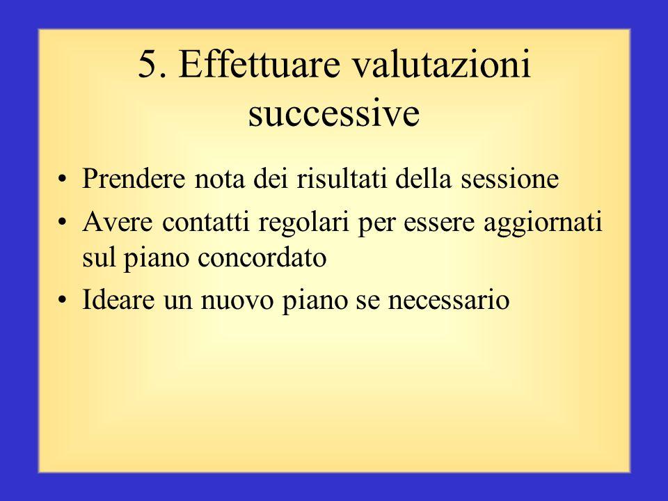 4. Concordare un piano Convenire su quale sia la causa del problema o il motivo del successo Parlare insieme della soluzione Creare insieme un piano d