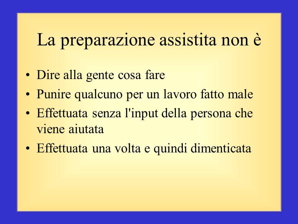 La preparazione assistita è La preparazione assistita può significare riconoscere e incoraggiare le prestazioni positive affinché tali pratiche proseg