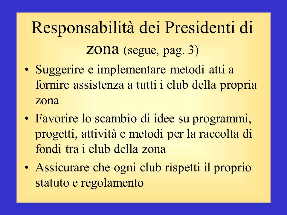 Responsabilità dei Presidenti di zona (segue, pag. 2) Organizzare e svolgere riunioni di zona come Presidente del Comitato Consulente del Governatore