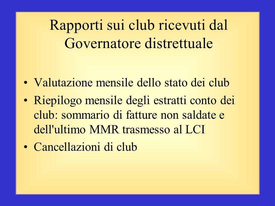 I rapporti che il presidente di zona riceve o può visualizzare Una copia del rapporto mensile MMR sui soci comprendente la variazione del numero di so