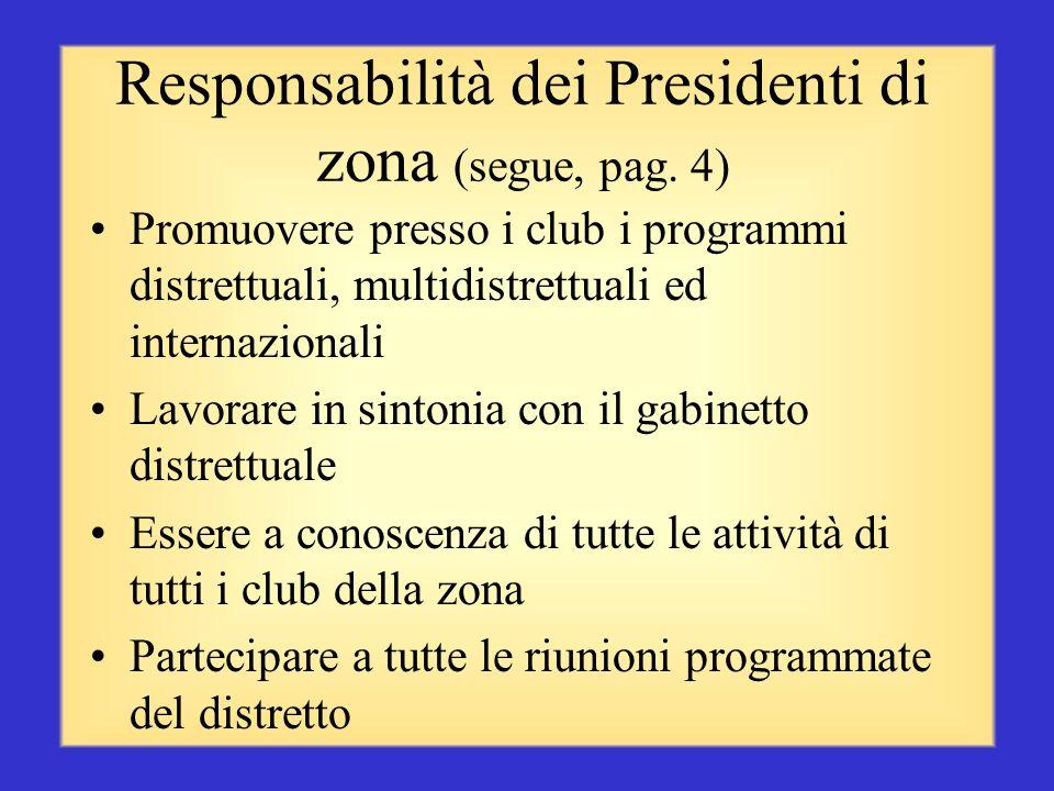 Responsabilità dei Presidenti di zona (segue, pag. 3) Suggerire e implementare metodi atti a fornire assistenza a tutti i club della propria zona Favo