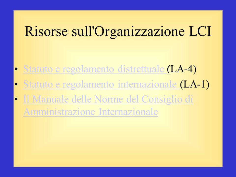 Risorse soci LCI (continua) Comitato Soci di Tre Persone (ME 29) La Sponsorizzazione è una Responsabilità Importante (ME21)La Sponsorizzazione è una R