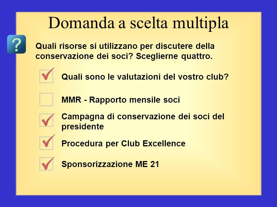 Sono un Lion Comitato Soci di tre persone MMR - Rapporto mensile soci I Lions fanno la differenza Sponsorizzazione ME 21 Domanda a scelta multipla Qua