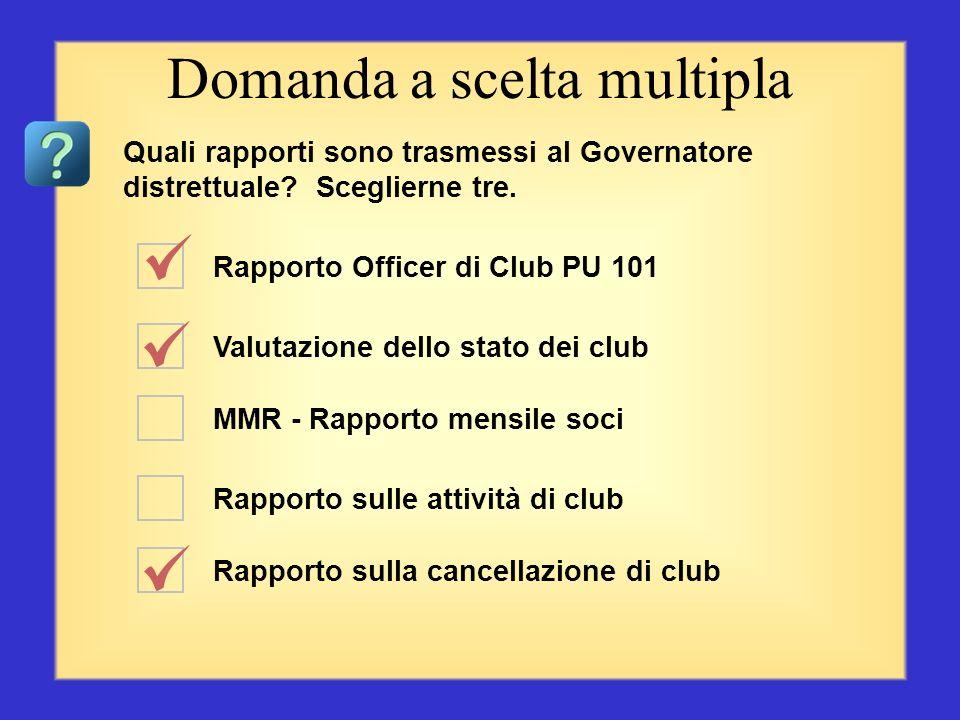 Rapporto Officer di Club PU 101 Riepilogo del Rapporto sugli estratti conto dei club MMR - Rapporto mensile soci Rapporto sulle attività di club Rappo
