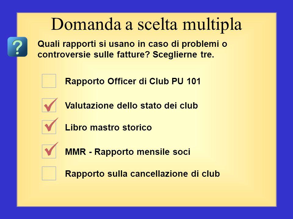 Rapporto Officer di Club PU 101 Valutazione dello stato dei club MMR - Rapporto mensile soci Rapporto sulle attività di club Rapporto sulla cancellazi