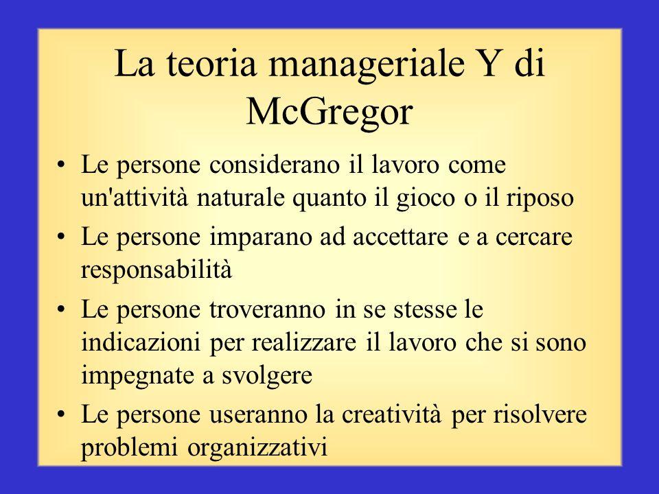 La teoria manageriale X di McGregor Le persone non amano il lavoro e cercheranno di evitarlo Le persone devono essere obbligate a lavorare con la mina