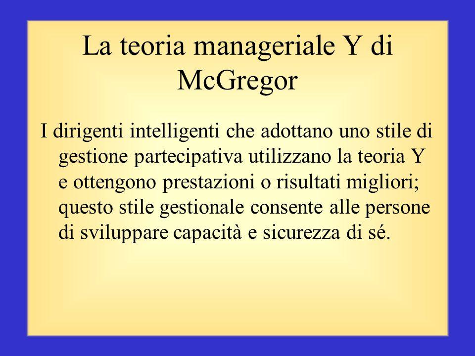 La teoria manageriale Y di McGregor Le persone considerano il lavoro come un'attività naturale quanto il gioco o il riposo Le persone imparano ad acce