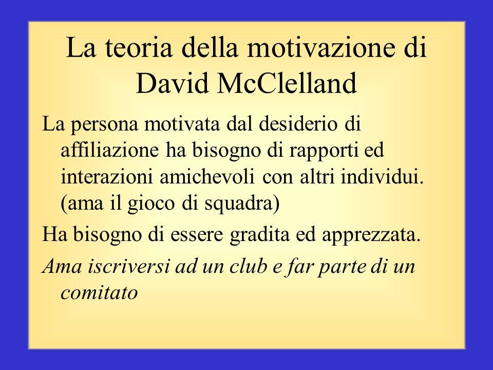La teoria della motivazione di David McClelland Nei suoi 20 anni di studio, McClelland ha individuato tre tipi di bisogni motivazionali: affiliazione,
