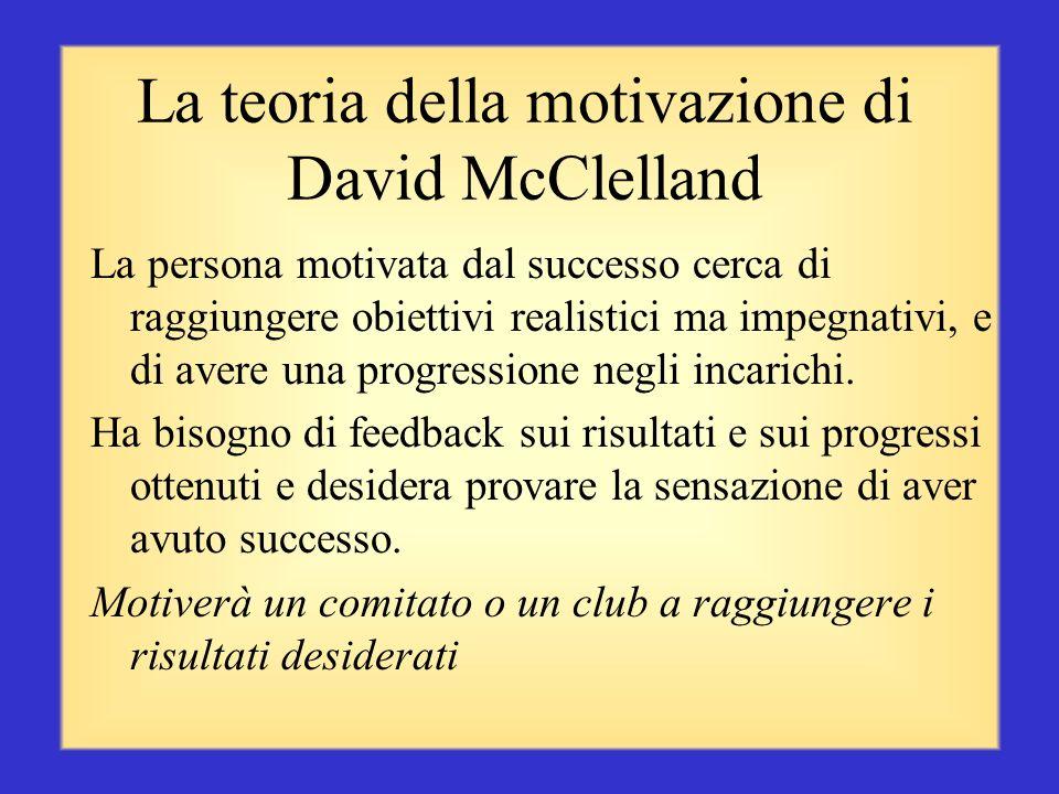La teoria della motivazione di David McClelland La persona motivata dal desiderio di affiliazione ha bisogno di rapporti ed interazioni amichevoli con