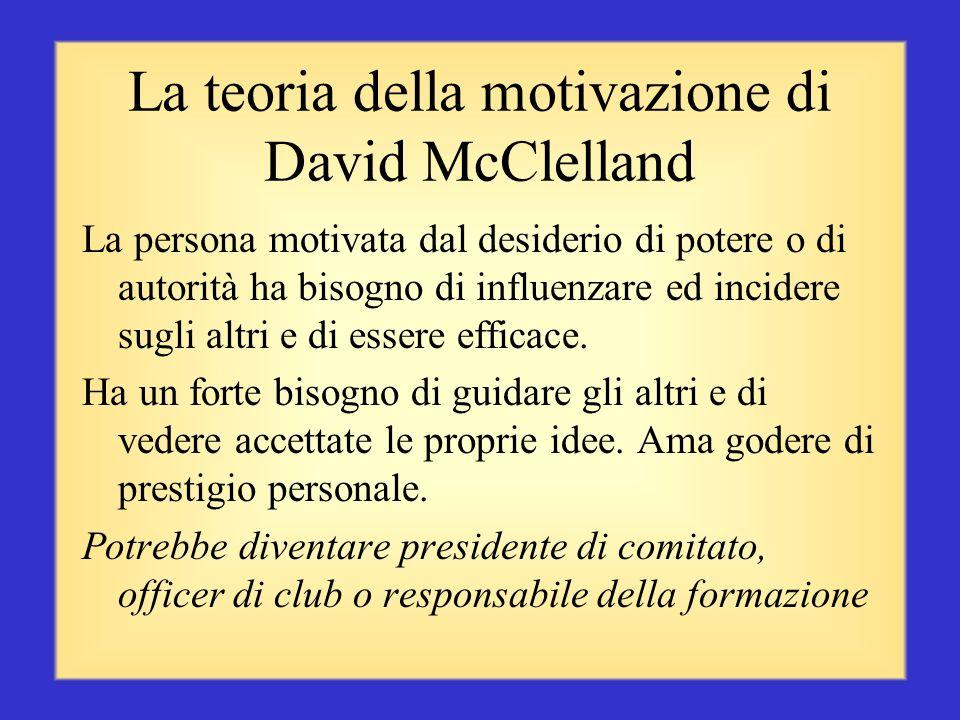 La teoria della motivazione di David McClelland La persona motivata dal successo cerca di raggiungere obiettivi realistici ma impegnativi, e di avere