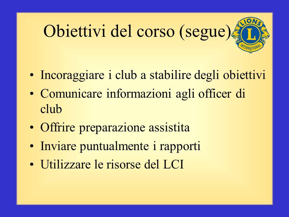 Obiettivi del corso (segue) Incoraggiare i club a stabilire degli obiettivi Comunicare informazioni agli officer di club Offrire preparazione assistita Inviare puntualmente i rapporti Utilizzare le risorse del LCI