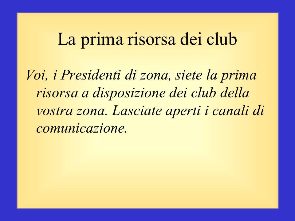 Fare complimenti per il successo di un club Chiedere ai club quali attività hanno svolto Informare il club su come inserire tali informazioni nel noti