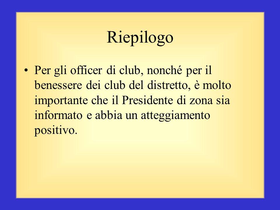 La prima risorsa dei club Voi, i Presidenti di zona, siete la prima risorsa a disposizione dei club della vostra zona. Lasciate aperti i canali di com
