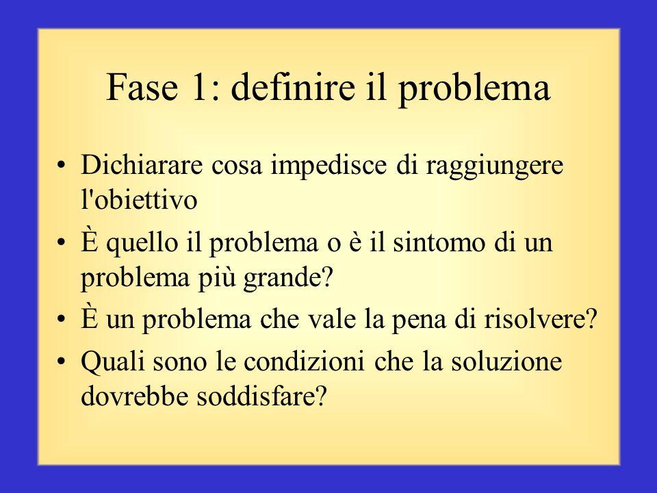 Processo di risoluzione dei problemi La risoluzione dei problemi rappresenta un processo mentale di alto livello, utilizzato quando una persona o un g