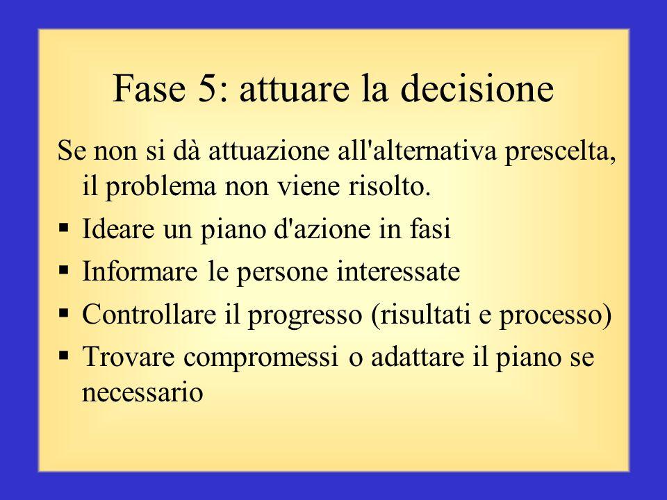 Fase 4.2: scegliere la migliore alternativa Scegliere la soluzione migliore (una soluzione perfetta non esiste) Chiedere al proprio esperto un'opinion