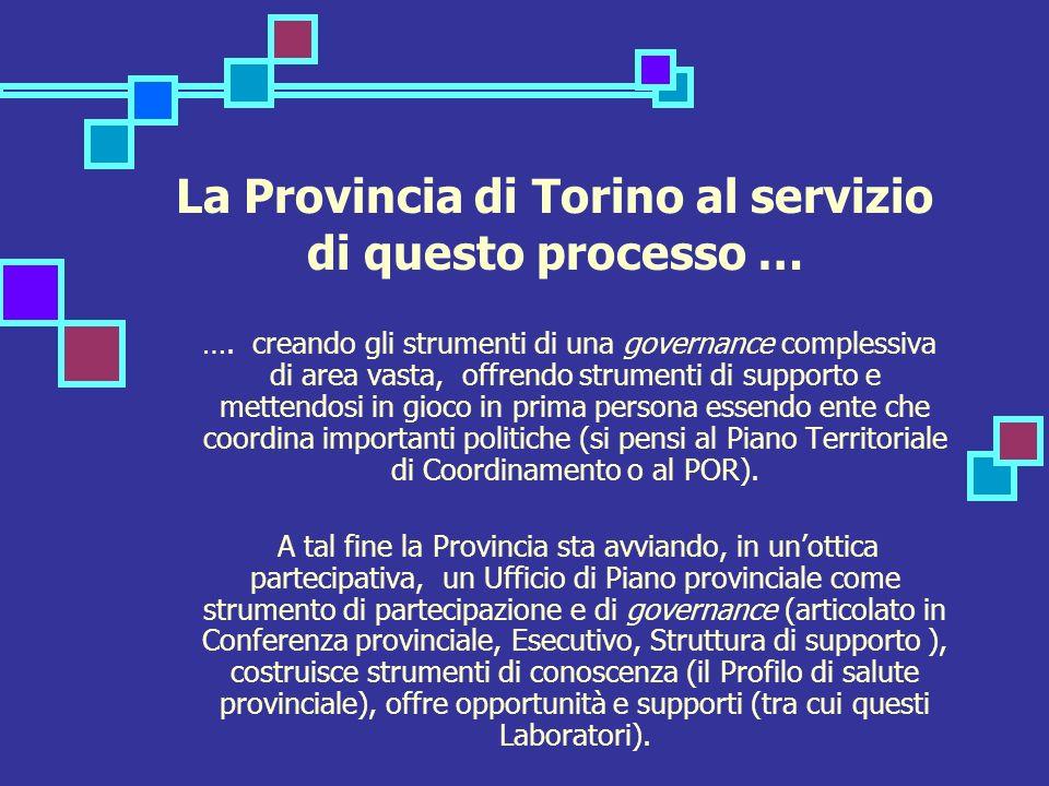 La Provincia di Torino al servizio di questo processo … …. creando gli strumenti di una governance complessiva di area vasta, offrendo strumenti di su
