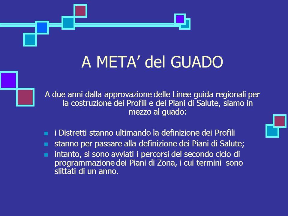 A META del GUADO A due anni dalla approvazione delle Linee guida regionali per la costruzione dei Profili e dei Piani di Salute, siamo in mezzo al gua