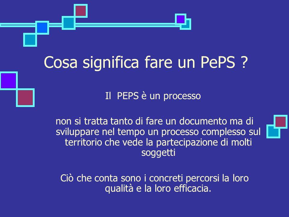 Cosa significa fare un PePS ? Il PEPS è un processo non si tratta tanto di fare un documento ma di sviluppare nel tempo un processo complesso sul terr