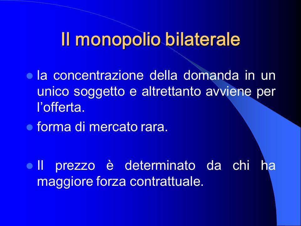 Il monopolio bilaterale la concentrazione della domanda in un unico soggetto e altrettanto avviene per lofferta.