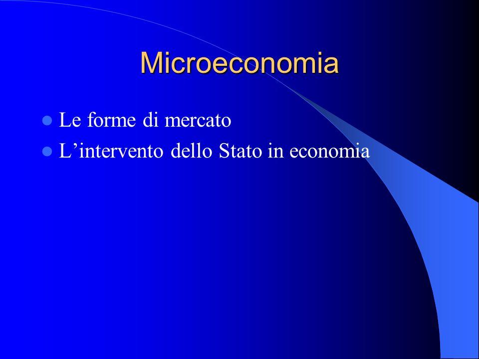 Microeconomia Le forme di mercato Lintervento dello Stato in economia