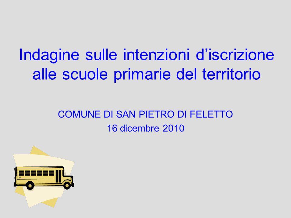 Indagine sulle intenzioni discrizione alle scuole primarie del territorio COMUNE DI SAN PIETRO DI FELETTO 16 dicembre 2010