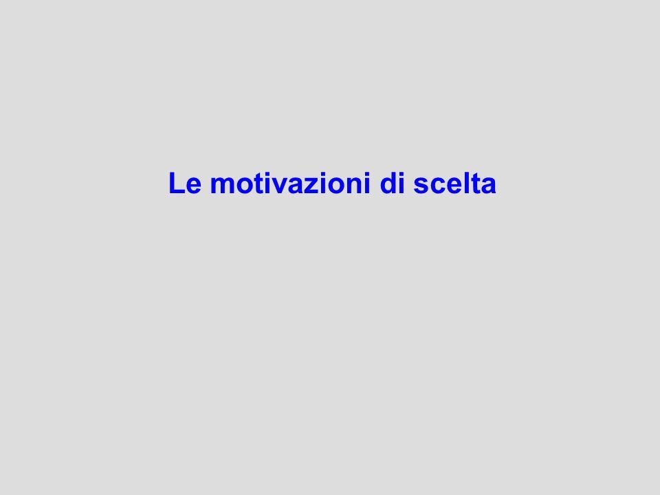 Le motivazioni di scelta