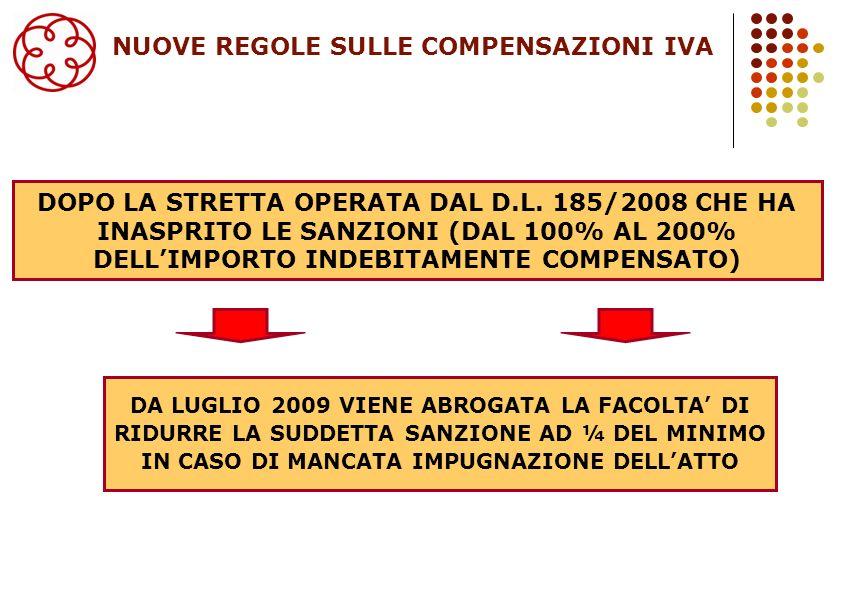 DOPO LA STRETTA OPERATA DAL D.L. 185/2008 CHE HA INASPRITO LE SANZIONI (DAL 100% AL 200% DELLIMPORTO INDEBITAMENTE COMPENSATO) 20 DA LUGLIO 2009 VIENE