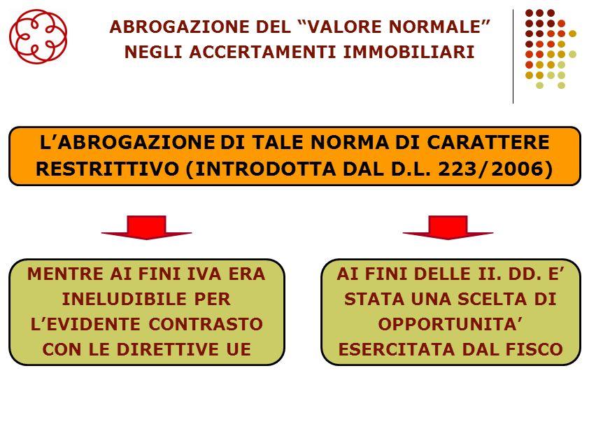 25 LABROGAZIONE DI TALE NORMA DI CARATTERE RESTRITTIVO (INTRODOTTA DAL D.L. 223/2006) MENTRE AI FINI IVA ERA INELUDIBILE PER LEVIDENTE CONTRASTO CON L