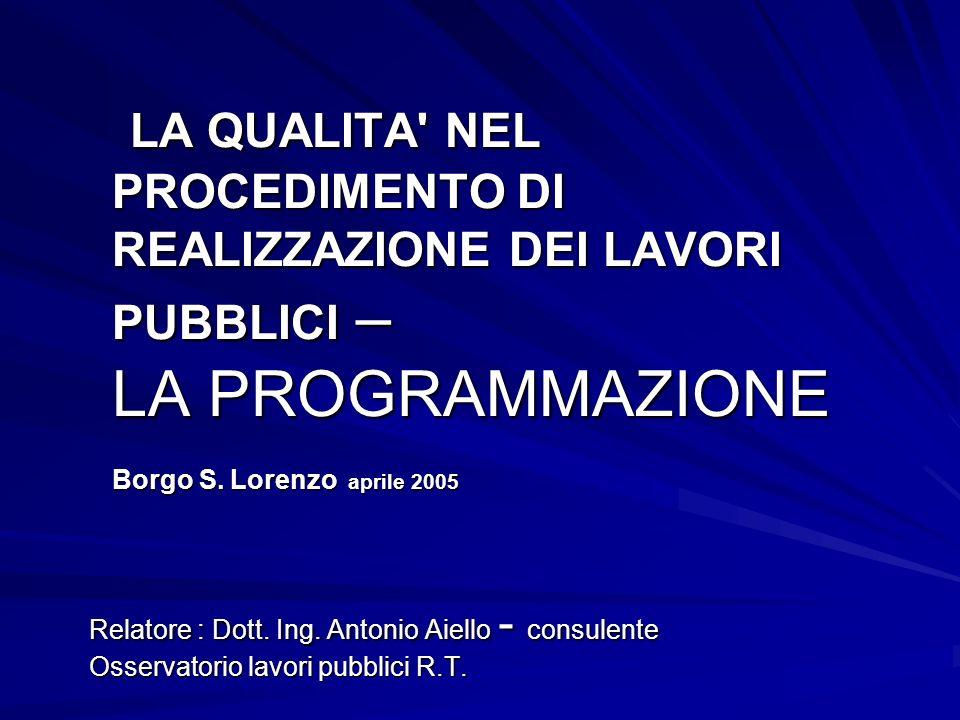 LA QUALITA NEL PROCEDIMENTO DI REALIZZAZIONE DEI LAVORI PUBBLICI – LA PROGRAMMAZIONE Borgo S.