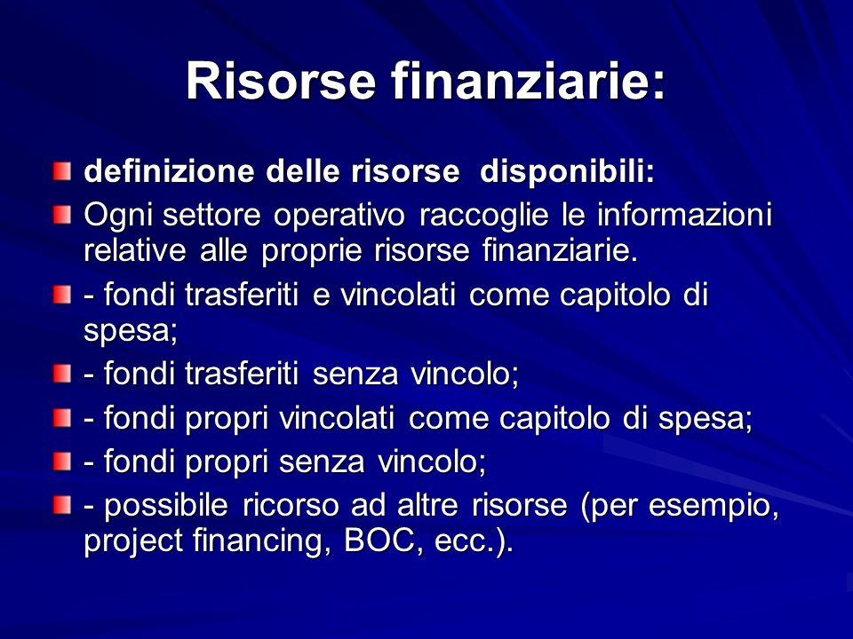 Risorse finanziarie: definizione delle risorse disponibili: Ogni settore operativo raccoglie le informazioni relative alle proprie risorse finanziarie.