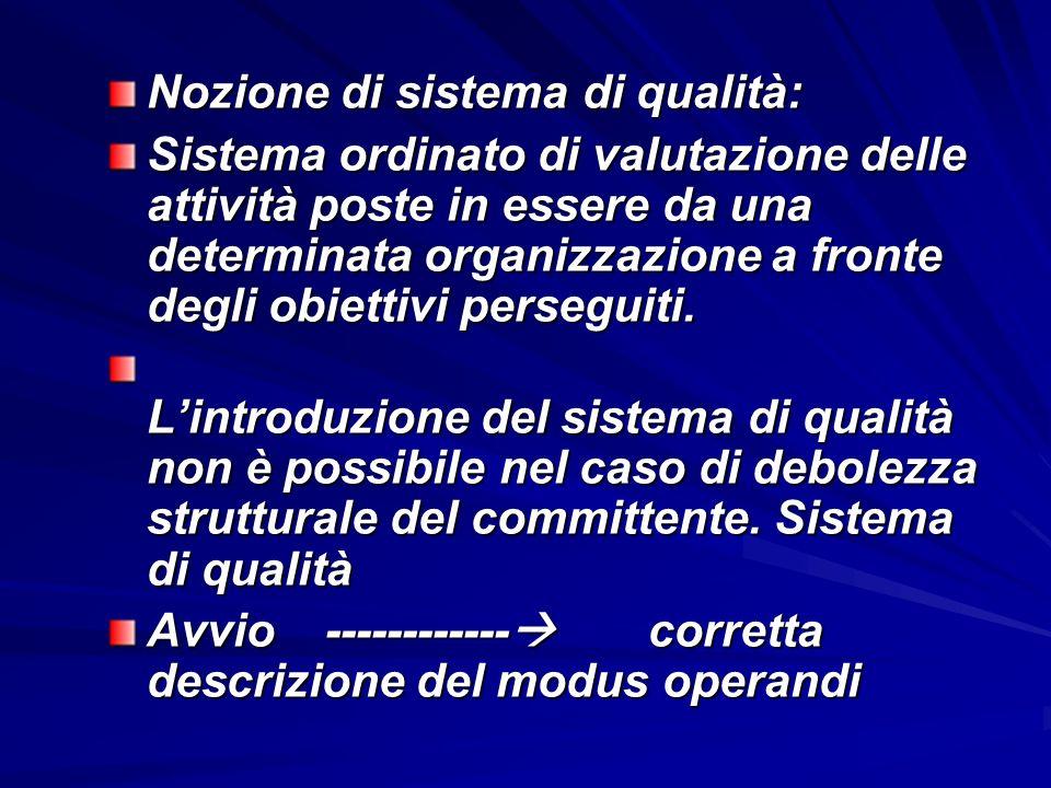 Nozione di sistema di qualità: Sistema ordinato di valutazione delle attività poste in essere da una determinata organizzazione a fronte degli obiettivi perseguiti.