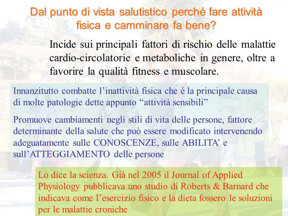 Dal punto di vista salutistico perché fare attività fisica e camminare fa bene? Incide sui principali fattori di rischio delle malattie cardio-circola