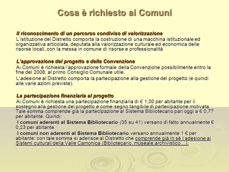 Cosa è richiesto ai Comuni Il riconoscimento di un percorso condiviso di valorizzazione Listituzione del Distretto comporta la costruzione di una macc